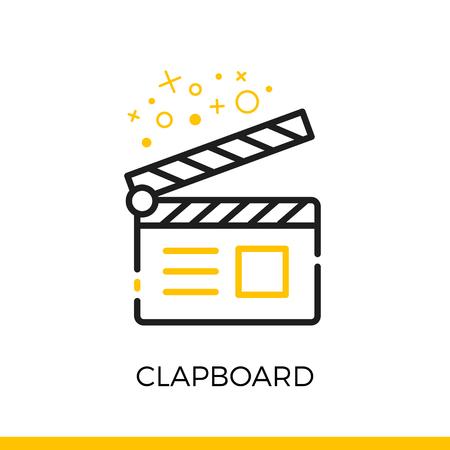 clapboard: Cinema clapboard linear icon.