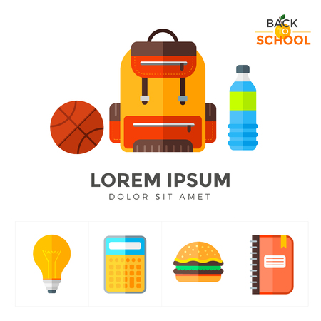Vector back to school icons set. Education object in flat style on white Illustration