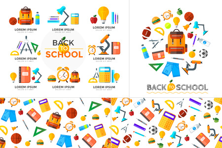 Vector education icons set with seamless pattern. High school object in flat style on dark