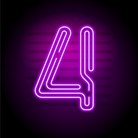 fluorescent tube: Realistic purple Neon numbers. Number with Neon glow on dark background. Vector Neon typeset for banners, titles, posters etc.