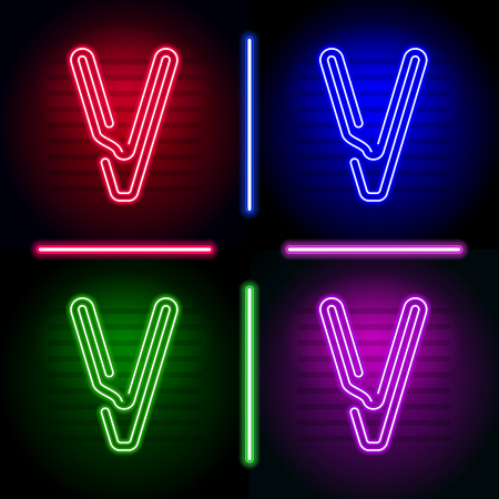 Set of realistic neon letters with different neon color glow on dark background. Vector neon typeface for your unique design