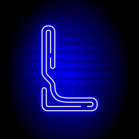 l background: Realistic Neon letter L. Character with Neon glow on dark background. Vector Neon typeface for flyers, titles, posters etc. Illustration