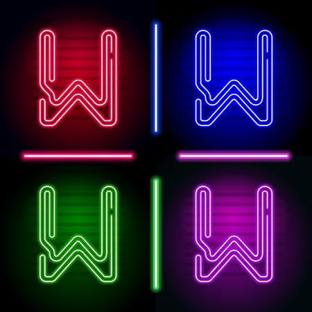 Conjunto de letras de neón realistas con diferente brillo de neón de color sobre un fondo oscuro. Vector de neón tipo de letra para su diseño único