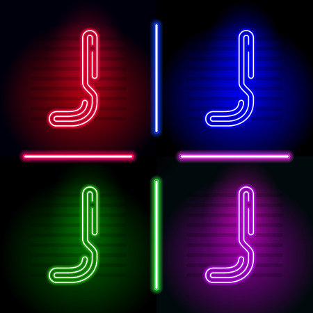 neon letters: Set of realistic neon letters with different neon color glow on dark background. Vector neon typeface for your unique design