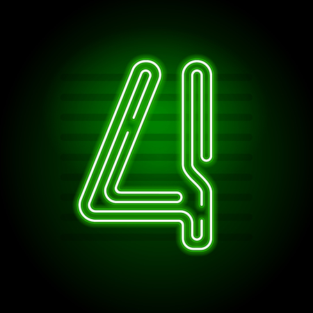 fluorescent tubes: Realistic Green Neon numbers. Number with Neon lights on dark background. Vector Neon typeface for banners, titles, posters etc. Illustration