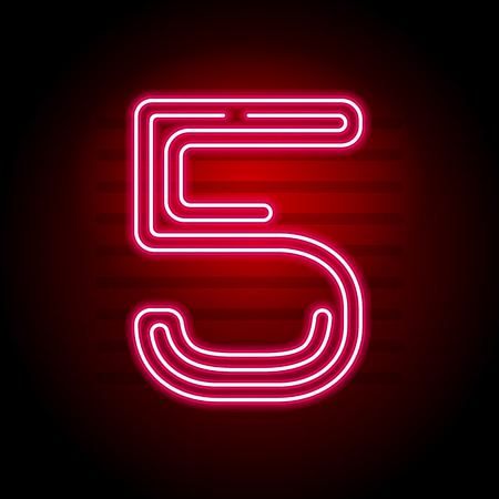 Realistic red Neon number. Number with Neon tube light on dark background. Vector Neon typeface for banners, titles, posters etc. Illustration