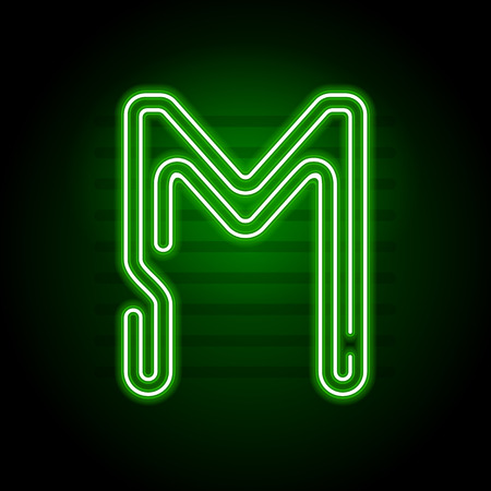 Realistic Green Neon letter. Character with Neon glow tube on dark background. Vector Neon  alphabet for banners, titles, posters etc. Illustration