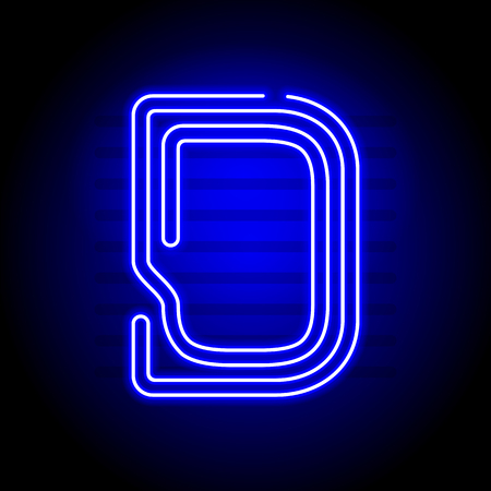 fluorescent tubes: Realistic Neon letter D. Character with Neon glow on dark background. Vector Neon typeface for flyers, titles, posters etc.