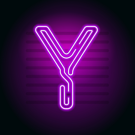Realistic Purple Neon letter. Character with Neon glow tube on dark background. Vector Neon  alphabet for banners, titles, posters etc.