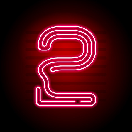 Realistic red Neon number. Number with Neon tube light on dark background. Vector Neon typeface for banners, titles, posters etc. 向量圖像
