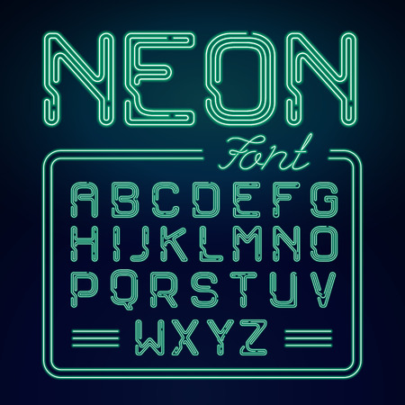 neon green: Realistic Neon green alphabet with neon numbers. Vector Neon typeset on dark background