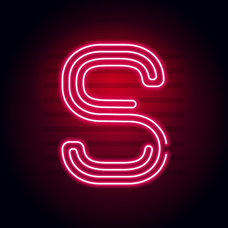 fluorescent tubes: Realistic Red Neon letter. Character with Neon glow tube on dark background. Vector Neon alphabet for banners, titles, posters etc.