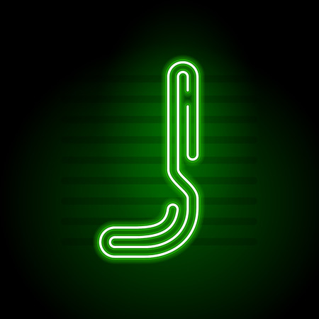 fluorescent tubes: Realistic Green Neon letter. Character with Neon glow tube on dark background. Vector Neon  alphabet for banners, titles, posters etc. Illustration