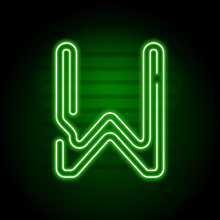 Realista carta verde de neón. Carácter con el tubo de neón del resplandor en el fondo oscuro. El alfabeto del neón para las banderas, títulos, carteles, etc. Vectores