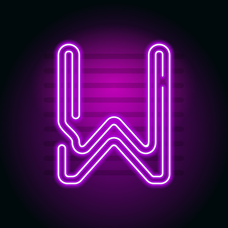 fluorescent tubes: Realistic Purple Neon letter. Character with Neon glow tube on dark background. Vector Neon  alphabet for banners, titles, posters etc.