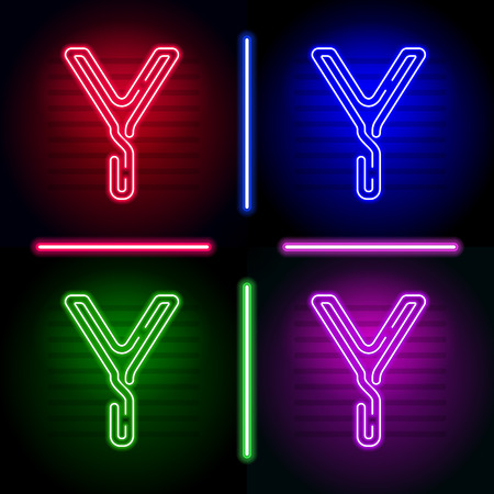 fluorescent tubes: Set of realistic neon letters with different neon color glow on dark background. Vector neon typeface for your unique design