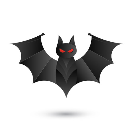 of helloween: Halloween bat icon for horror holiday. Isolated on white background. Vector Illustration for Happy Halloween Illustration