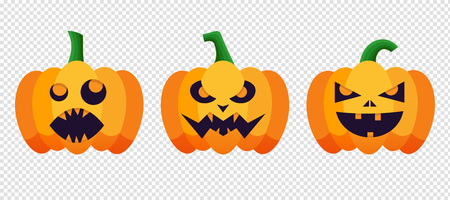 of helloween: Set of pumpkins silhouette with emotion variation for halloween party. Vector pumpkin isolated on transparent background for Happy Halloween.