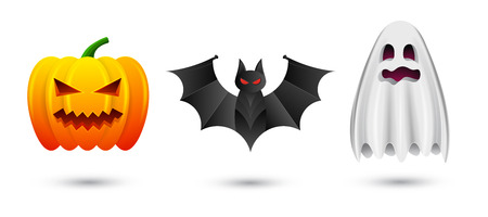 spook: Set of halloween pumpkin, bat and ghost icons. Vector illustration isolated on white background for Happy Halloween