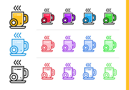 break in: Linear coffee break icon for startup business in different colors. Vector elements suitable for website, mobile application and presentation