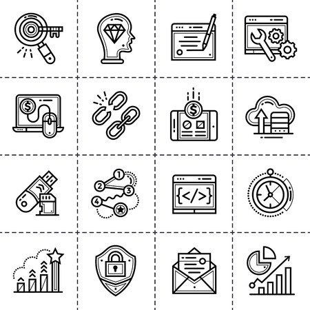 ne: ne icons for startup business in blue tone style. Modern outline icons for mobile application and web concepts Illustration