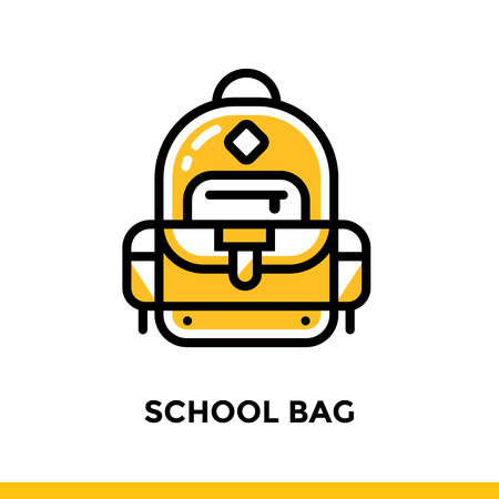 Linear SCHOOL BAG icon for education. Pictogram in outline style. Vector modern flat design element for mobile application and web design.