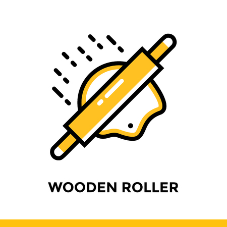 Linear WOODEN ROLLER icon. Vector elements suitable for website and presentation 일러스트