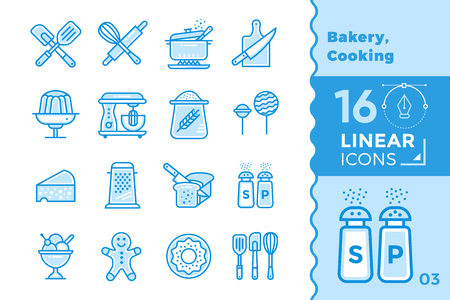 suitable: Vector linear icons set of bakery, cooking. High quality modern icons for suitable for banners, mobile apps and presentation