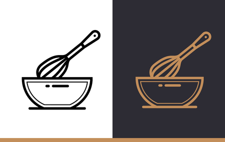 suitable: Linear icon WHISK, BOWL of bakery, cooking. Pictogram in outline style. Suitable for mobile apps, websites and presentation
