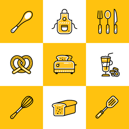suitable: Vector collection of outline icons, bakery, cooking. Premium quality modern icons suitable for info graphics, print media and interfaces