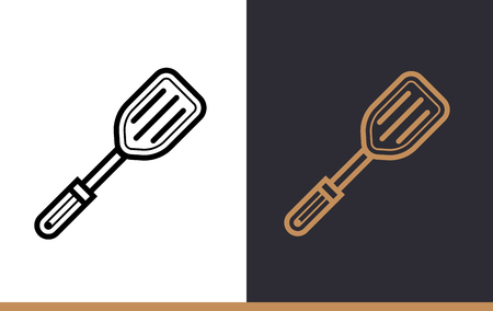 Linear icon PLASTIC SPATULA of bakery, cooking. Pictogram in outline style. Suitable for mobile apps, websites and presentation