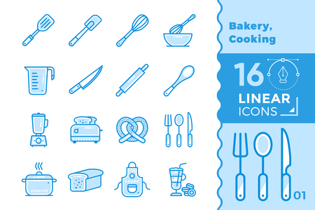 Vector outline icons collection of bakery, cooking. High quality modern icons for suitable for banners, mobile apps and presentation