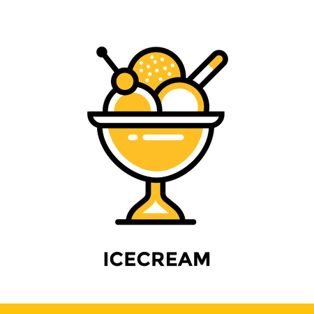 Outline icon ICECREAM of bakery, cooking. Vector line icons suitable for info graphics, print media and interfaces Illustration