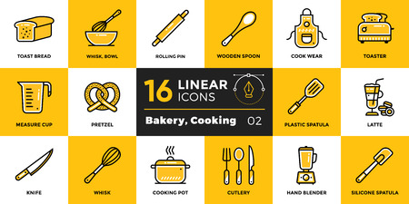 suitable: Vector linear icons set of bakery, cooking. High quality modern icons suitable for print, website and presentation