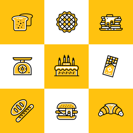 suitable: Vector collection of outline icons, bakery and cooking. High quality icons suitable for websites, print and illustration