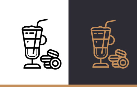 suitable: Linear icon LATTE of bakery, cooking. Pictogram in outline style. Suitable for mobile apps, websites and presentation