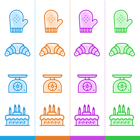 suitable: Vector set of linear icons, bakery and cooking in different color. Suitable for website, mobile apps and print