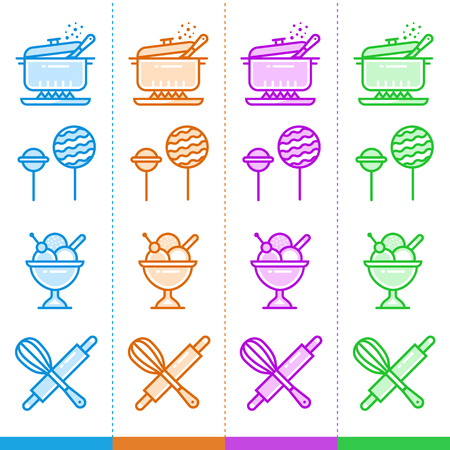Vector set of linear icons, bakery, cooking. Suitable for website, mobile apps and print