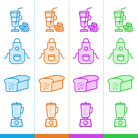 suitable: Vector set of linear icons, bakery, cooking. Suitable for website, mobile apps and print