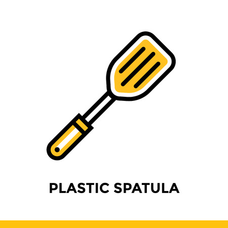 Outline icon PLASTIC SPATULA of bakery, cooking. Vector line icons suitable for info graphics, print media and interfaces Illustration