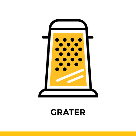 Outline icon GRATER of bakery, cooking. Vector line icons suitable for info graphics, print media and interfaces