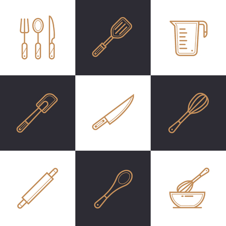 suitable: Unique linear icons set of bakery, cooking. High quality modern icons suitable for info graphics, print media and interfaces Illustration