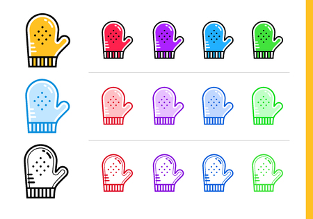 suitable: Outline COOKING GLOVE icon in different colors. Vector elements suitable for website, mobile application and presentation Illustration