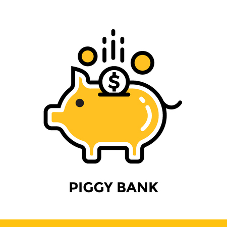 Linear icon PIGGY BANK of finance, banking. Pictogram in outline style. Suitable for mobile apps, websites and design templates