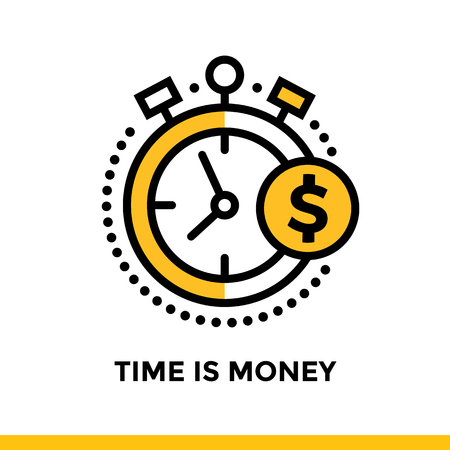 Linear icon TIME IS MONEY of finance, banking. Pictogram in outline style. Suitable for mobile apps, websites and design templates Illustration