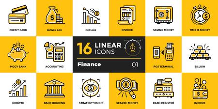 Vector Entwurfsikonensammlung der Finanzierung und Bankwesen. Moderne Entwurfsikonen für bewegliche Anwendungs- und Netzkonzepte