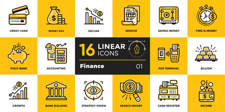 Vector outline icons collection of finance, banking. Modern outline icons for mobile application and web concepts Reklamní fotografie - 82510756