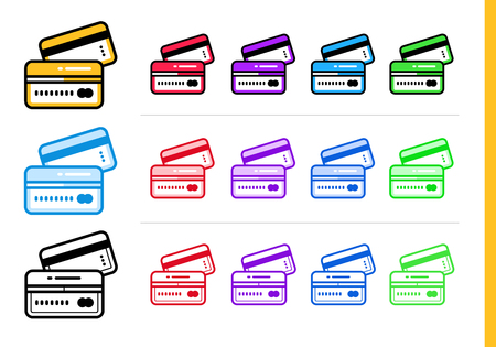 vector outline icons credit card of finance banking high quality