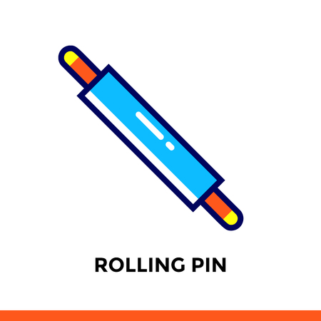 Stroke line icon ROLLING PIN of bakery, cooking. Vector modern flat pictogram for mobile application and web design