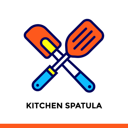 Linear icon Kitchen spatula of bakery, cooking. Pictogram in outline style. Suitable for mobile apps, websites and design templates
